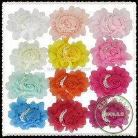 """IN STOCK 4.5"""" * 4"""" Chiffon Rosette Rose Flower With Two Strands Of Pearl Hair Flowers For Clothing"""