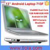 13.3 inch Android Laptop with Via8880 Dual Core 1GB RAM 8GB HDD 713F