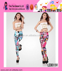 Fashion Sexy Colorful Pattern Printed Slimming Leggings Hot Casual Tight Elastan Legging