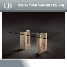 Modern Hand Craved Travertine base dining table with glass