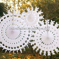 White snowflake shape tissue paper fans for party decoration