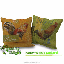 Retro Vintage green yellow Cock Rooster Home Decorative Cotton Linen Pillow Case Cushion Cover 18'' cushions for seat