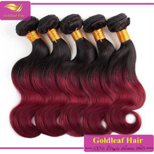 hot selling red hair designed 100% grade 6A body wave color 99j hair weave