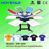 Silk Screen Printing Machine 6 Colors 6 Station Manual T Shirt Printer