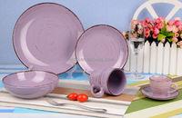 Purple hand brush color glazed stoneware dinnerware set