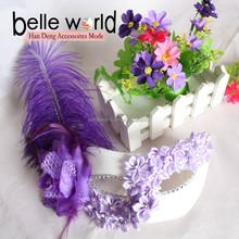 Promotional Hot Fashion Purple flower feather Party Women Masks