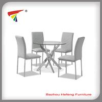 stylish chromed leg glass table dining set