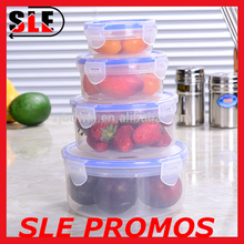 High Quality Hot Selling 2,3,4 Pcs Set Round Transparent Plastic Food Container,Fresh Preserving Box For Food Storage With Lock