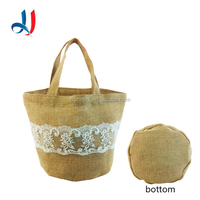 2016 Top Sale Manufacturing Designer Jute Handbags Brand Name Organza Lace Shopping Bag With Round Bottom