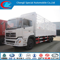 10 ton Cargo truck Dongfeng 6x4 cage trailer for sale heavy duty truck china famous brand van truck cage trailer for sale