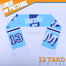 2016 China Marketing Olympique de Marseille soccer/Football club Championship fans polyester Fleece knited stretchy blue Scarf
