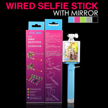 2015 New Design Selphie Stick, Cable Connection Selfie Stick with Mirror, Selphie Mirror Manopod