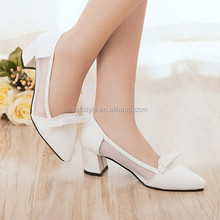 Fashion small buckle women shoes high heel office lady thick heel pumps