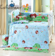 100% cotton cartoon Baby 4 pieces sets bedding around Bumper with Removable washing