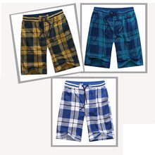 Men's Cotton Shorts With Adjustable Belt, Leisure Style Plaid Shorts