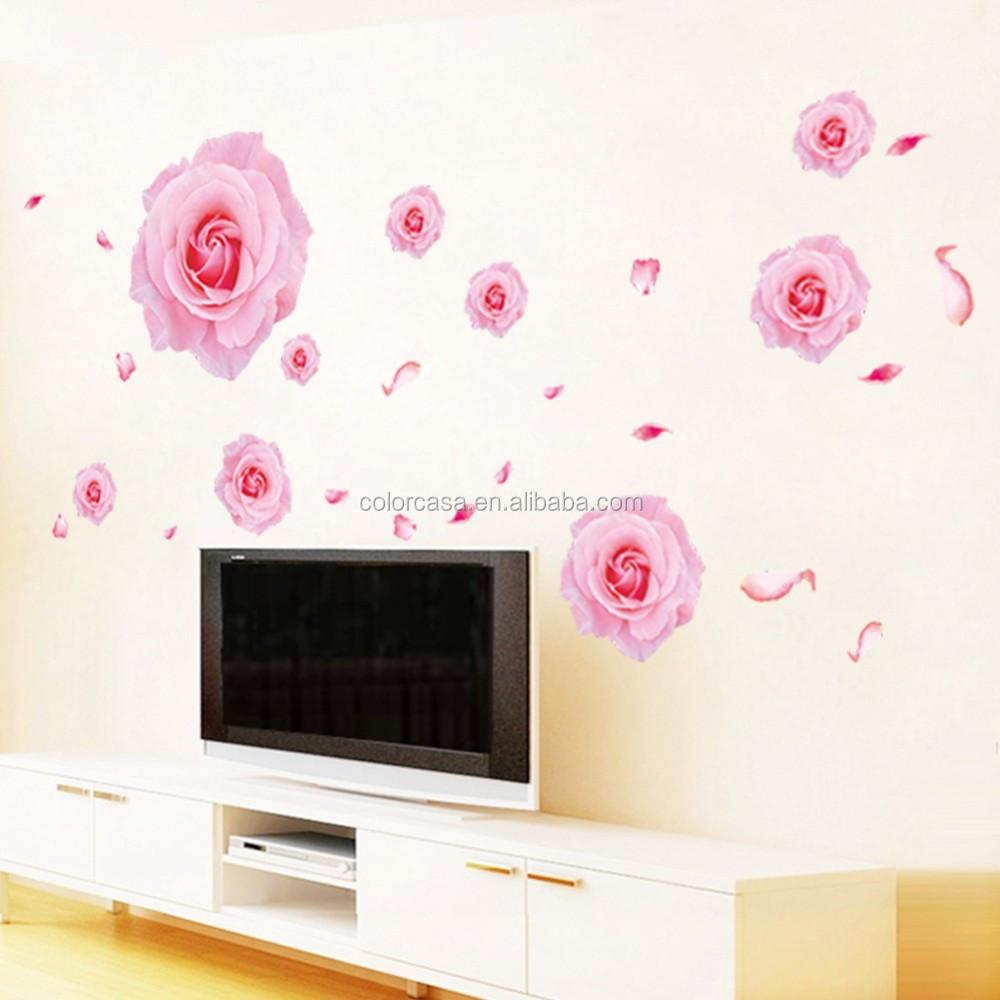 ColorcasaZYPA-063-N 핑크 장미 꽃 벽 스티커 3D DIY 비닐 홈 장식 거실 ...