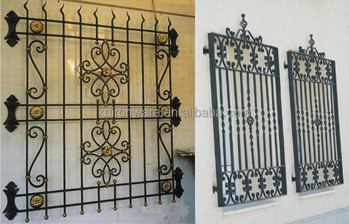 House window safety wrought iron anti theft window guards for Metal window designs
