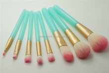 Green Silicone Makeup Brushes 8pcs Cheap Cosmetic Brush Set with PVC Box for Girl