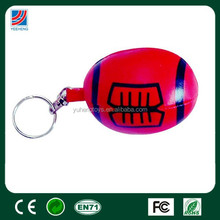 Mini red rugby keyring