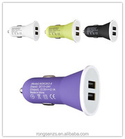 wholesale alibaba colorful portable dual usb car cell phone charger for Samsung / HTC / LG charger