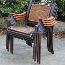 2016 New Design Stackable Outdoor Resin Wicker Rattan Chair Metal Legs