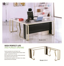 L shaped executive luxury mental wooden office desk 014