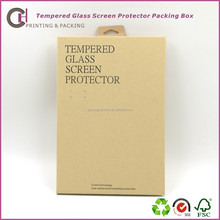 Book Shape Brown Kraft Paper Box for Tempered Glass Screen Protector with Black Stamping and hang hole