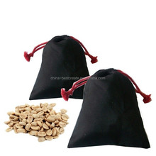 Recyclable Custom drawstring Black cotton coffee bag from china Factory