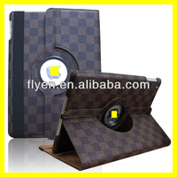 luxury gird pattern 360 Rotating PU Wake/Sleep Leather Case Skin Cover for Apple Ipad Air 5 5th Gen