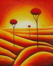 wall art red dandelion on desert oil painting on canvas home decor ZQ-49
