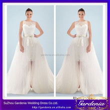 Unique A-line Boat Neck Sleeveless Zipper Back Sash Floor Length Removable Tulle Overskirt Wedding Dress ZE-043