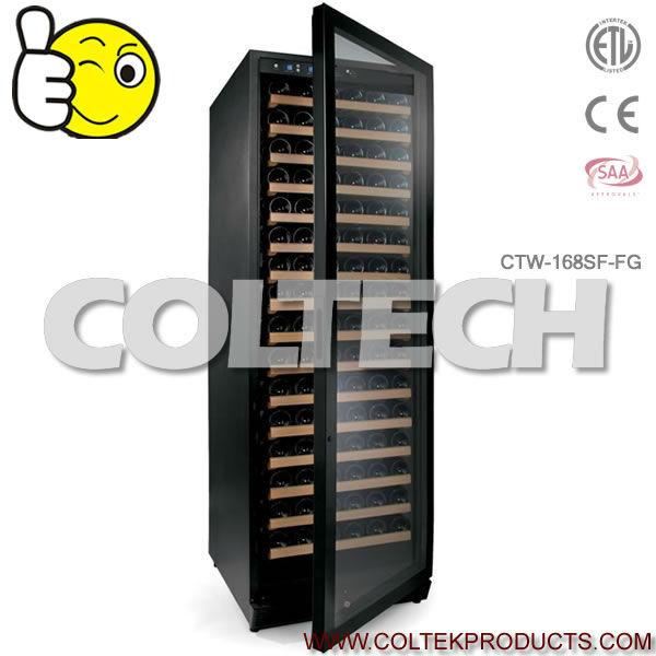 122 Бутылки в одной зоне в стеклянные двери встроенный hec охладитель вина с Вентилятор системы охлаждения