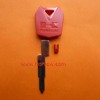 Plastic key shell for Kawasaki Motorcycle transponder key bank with right blade (Red color) fob,for car and motorcycle