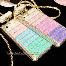 2015 Hot selling Luxury Brick Design Glitter Bling Diamond-studded Crystal Stone Mobile Cover for iPhone 6 Rhinestone Phone Case