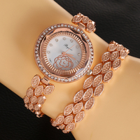 1987 flower rose fashion african style gold plated chain bracelet watch ladies wrist watch