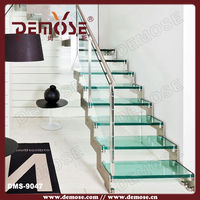small straight glass/steinless stee staircase /stairs for modern house