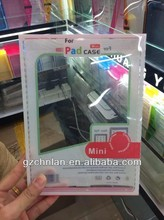 Fashion Plastic transparent retail blister pack for ipad mini tablet case accessories