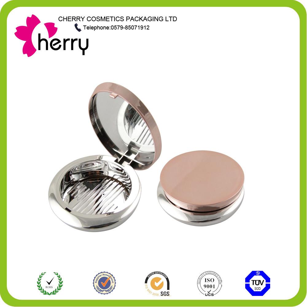 Transparent plastic pressed powder case round cosmetic compact case