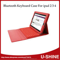 Hot Sale ABS Wireless Bluetooth Keyboard PU Leather Case for iPad 2 3 4