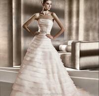 High Quality Strapless Layered Cake Bowknot Chiffon New Model 2013 Wedding Dress