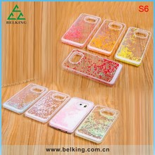 Newest Heart Shape Liquid Plastic Case For Samsung S6, For Samsung S6 Hard Float Liquid Case