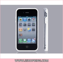 Dual Colored Protective Frame for iphone 4S White & Transparent