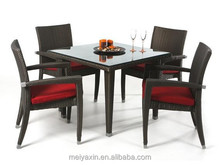 MD-D75 aluminum dining furniture rattan outdoor table