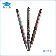 Promotional top quality metal crystal cartoon stylus touch pen