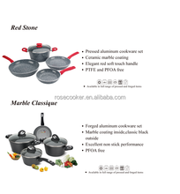 Forged stone/marble coating cookware set with red soft touch handle,RS--535