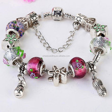 New 2015 fashion jewelry handmade charm murano glass beads silver chain bracelet