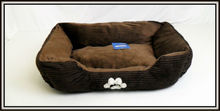 """PET SUPPLY - DOG BED , 28"""" INCH COFFEE PAW PRINT PET BED DOGS"""