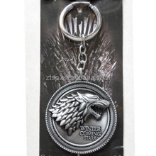"Game of Throne keychain fashion logo"" winter is coming"" custom key ring"