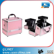 Pink color aluminum wholesale portable hard cosmetic cases