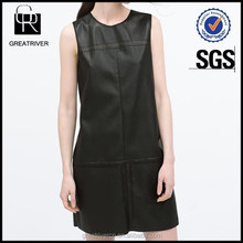 Made in china woman clothing black faux leather dress